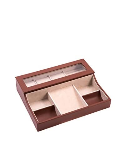 Bey-Berk Leather Valet Box, Brown