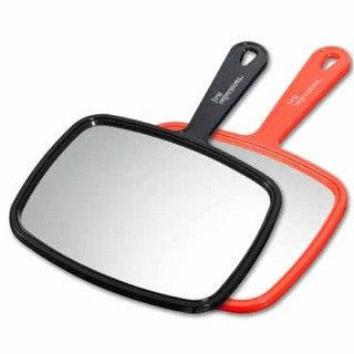 Salon Hand Mirrors, Single Sided, No Magnification, Red & Black (Set Of 2) front-1046653