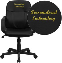 """Embroidered Mid-Back Glove Vinyl Executive Swivel Office Chair Black/Black/23.75""""L x 22.75""""W x 39""""H"""