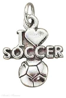 Sterling Silver I Love Soccer Sports Message Word Charm