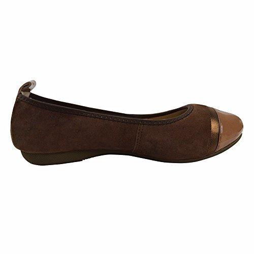 Moda lusso carina Slip di pelle di pecora in pelle balletto Ballerine Scarpe da danza 6192-130 (Caffè, 38 EU)