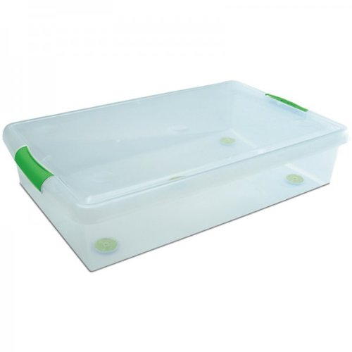"Underbed Plastic Storage Container - Set of Two (Clear) (6.25""H x 18""W"