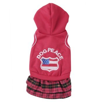 Red Sports Lovers Hooded Dress For Dogs(M)