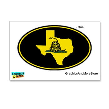 Gadsden - Don'T Tread On Me - Tea Party- Texas Euro Oval - Window Bumper Locker Sticker
