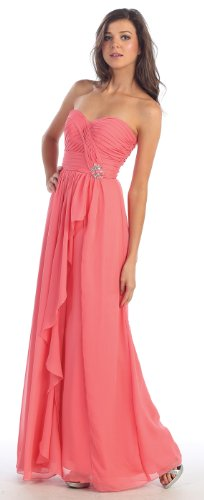 Prom Chiffon Strapless Sweetheart Dress Long Gown #895 (4, Coral)