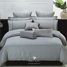 """Queen Size Grey Color Duvet Cover-""""Modern Leaves """" Jacquard Collection front-1010953"""
