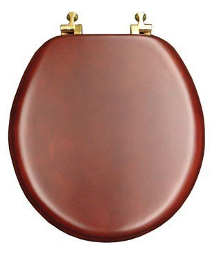 Mayfair 9602BR 178 Natural Reflections Wood Veneer Toilet Seat with Brass Hinges, Round, Cherry
