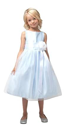 Vintage Satin Tulle Special Occasion Flower Girl Dress Toddler LightBlue 2T