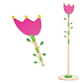 Pink tulip coat stand for children