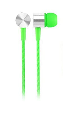 buy Grandey Earbuds - Durable, Tangle-Free In-Ear Headphones With 100% Braided Fabric Wrapped Cords (Green)
