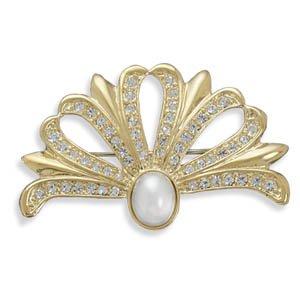 Crystal and Pearl Fashion Pin