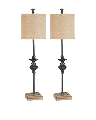 Couture Lamps Set Of 2 Industrial Buffet Lamps, Black