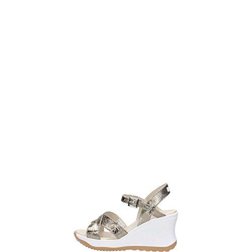 Agile by Rucoline Sandalo con Zeppa Media Alta con Cinturino Vesuvio Art. 1871 82644 1871 A Bronzo Scarpe Donna Nuova Collezione Primavera Estate 2018