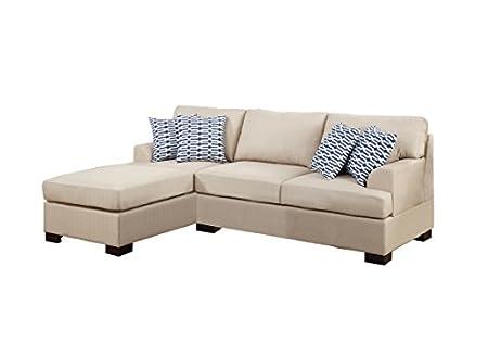 Poundex Bobkona Roman Microfiber 3-Seat Reversible Sectional Sofa, Khaki