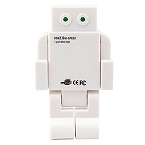 New Robot [USB Hub 2.0] Tcoolgroup Mini High speed HUB with 4 usb port for notebook LED Eyes (Green Pink White) (Robot Usb Port compare prices)