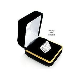Black Velvet Ring Gift Jewelry Box w/ Gold Trim
