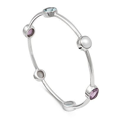 Arm Candy Sterling Silver Blue Topaz, Amethyst and Pearl Bangle