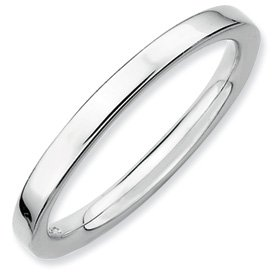 Genuine IceCarats Designer Jewelry Gift Sterling Silver Stackable Expressions Rhodium Polished Ring Size 10.00