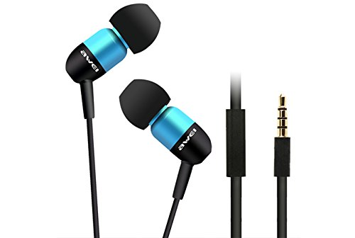 Awei® Es-Q8I Super Bass Three Frequency Balanced In-Ear Stereo Earphones With Microphone For For Iphone 4/4S/5/5S Ipod Mp3 Mp4 Samsung Htc (Blue)