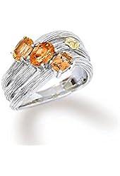Sterling silver 18k gold citrine gemstone ring size , 7