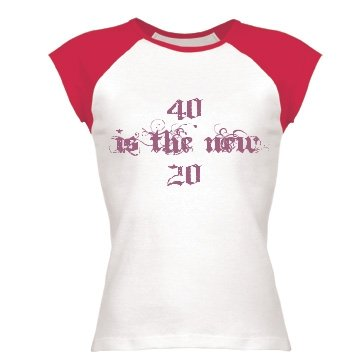 40 Is The New 20: Custom Junior Fit Cap Sleeve Baseball T-Shirt