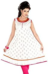 Sruti Women's Cotton Embroidered Off White Kurti -( 546 )-44