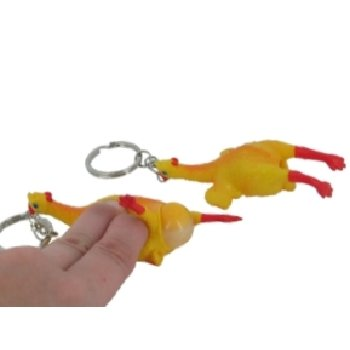 Egg laying rubber chicken keychain