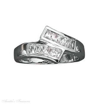 Sterling Silver Princess Cut Channel Set Cubic Zirconia Bypass Ring Size 7