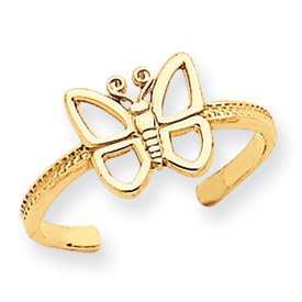 Genuine IceCarats Designer Jewelry Gift 14K Butterfly Toe Ring Size 0.00