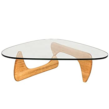 LeisureMod Imperial Triangle Coffee Table, Natural Wood