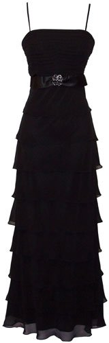 Tiered Ruffle Chiffon Prom Long Dress Bridesmaid, S, Black