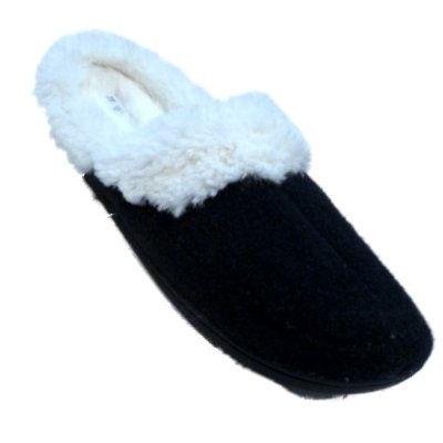 Image of Womens Dearfoams Navy Blue Boiled Wool Slippers Fur Lined Clogs Large 9-10 (B005KKF55K)
