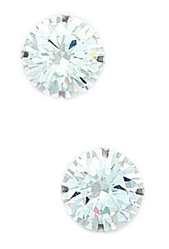 14k White Gold 10mm Round CZ Light Prong Set Earrings - JewelryWeb