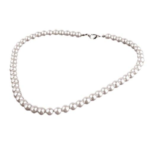 Rosallini Charm Pearl Necklace w. Metal Clasp Costume Jewelry
