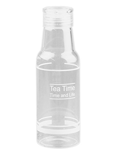 Bestwoohome Glass Water Bottles Milk Cup with Lid,400ml(White)