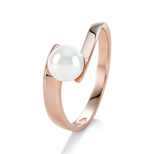 21DIAMONDS Madeleine Women's Ring 14Carat 585Red Gold White Fresh Water Pearl and Pearl Bead Wedding Engagement Ring 2Pcs