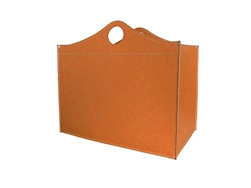 WOODBAG: borsa in cuoio portalegna e/o pellet, in cuoio rigenerato colore Marrone, con ruote gommate.