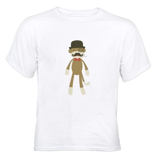 CafePress Sock monkey with Mustache and Top hat T-Shirt White T-Shirt