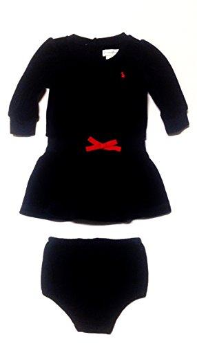 Ralph Lauren Baby Girls Velour Dress Long Sleeve 2 Piece Set (3 Months, Navy)