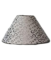 AC Lampshade Tapered White with Silver rings (Size in cms- 25X25X14, Color- Multicolor)
