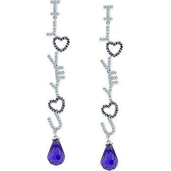 White Gold Rhodium Bonded Dangle Earring with Pave
