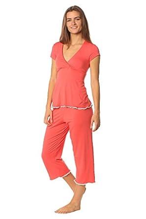 Majamas Lacey Cropped MJ Maternity Nursing Pajama Set - Azalea - Small