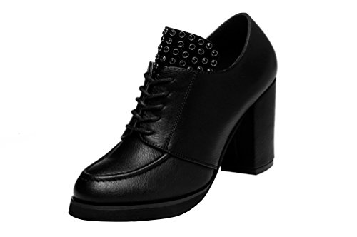 Passionow Women's Fashion Rivet Lace-Up High Block Heel Leather Pumps (7.5 B(M)US,black)