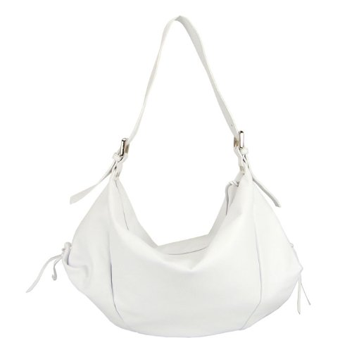 MONTINI Italian White Leather Large Hobo Crossbody Shoulder Bag