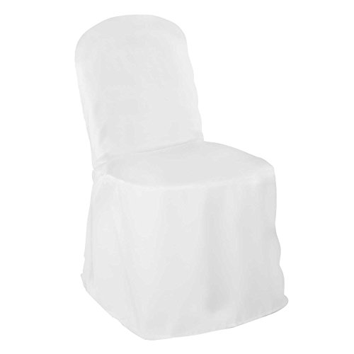 Lann's Linens Premium Polyester Banquet Chair Cover - for Wedding or Party Use - White - 10pcs
