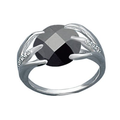 Ladies Sterling Silver Black Cubic Zirconia Solitaire Modern Style Ring