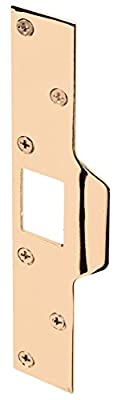 Prime-Line Products U 9426 Maximum Security Latch Strike, 1-1/4 in. x 7-7/8 in., Steel, Brass Plated