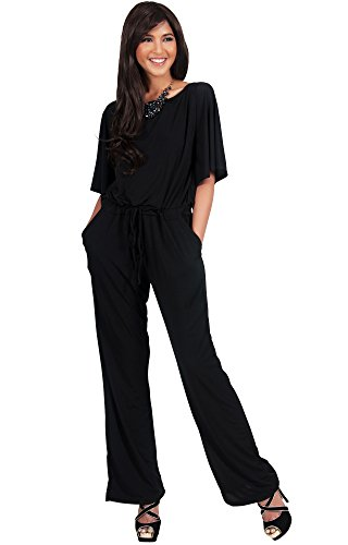 Koh Koh Womens Short Sleeve Boat Neck Slimming Evening Cocktail Formal Jumpsuit - Large - Black (Cocktail Pant Suits compare prices)