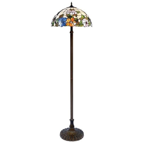 tiffany style handmade floral stained glass floor lamp. Black Bedroom Furniture Sets. Home Design Ideas