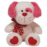 Ty Beanie Babies Lovesick - White Dog with Pink Ears Beanie Baby